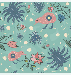 Seamless floral pattern with exotic kiwi bird vector