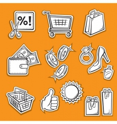 shopping set v vector image vector image