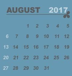 Simple calendar template of august 2017 vector
