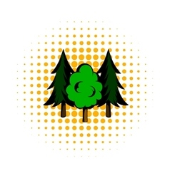 Three tree comics icon vector