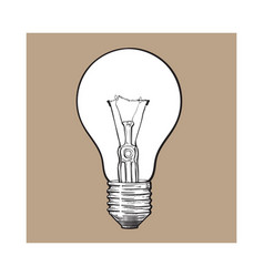 traditional transparent tungsten light bulb side vector image