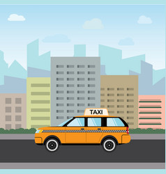 Yellow taxi car in front of city silhouette and vector
