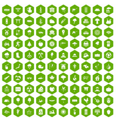100 tree icons hexagon green vector