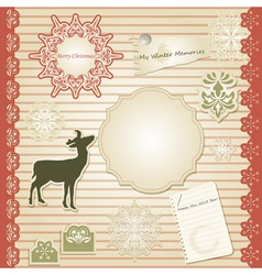 christmas scrapbook design template vector image