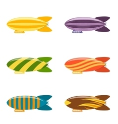 Colorful airship set vector