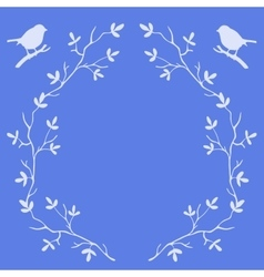 Frame of tree branches with birds vector