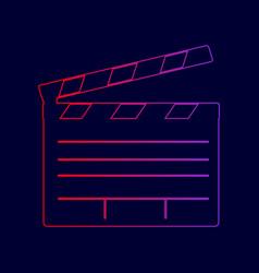 Film clap board cinema sign  line icon vector
