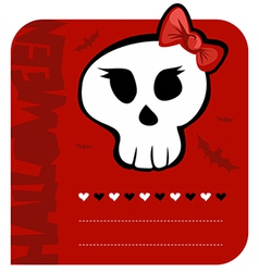 Skull girl greeting card vector