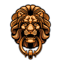 Decoration of lion door knocker vector