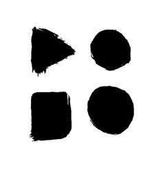 set of four black ink geometric shapes vector image