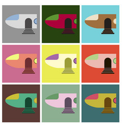 Set of icons in flat design airplane nose vector