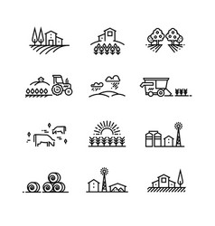Village line landscapes with agricultural field vector