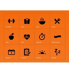 Fitness icons on orange background vector