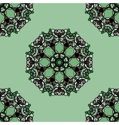 Seamless green mandala flower ornamental vector