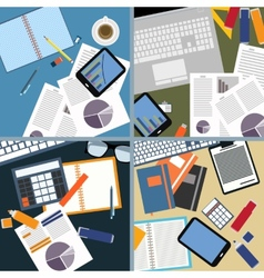 Flat design of office space and objects vector