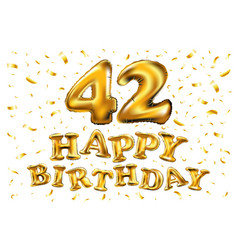 42nd birthday celebration with gold balloons and vector image vector image