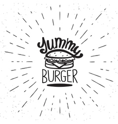 Yummy burger vintage label vector