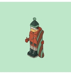 Snowboarder isometric character background vector