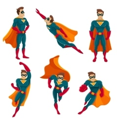 Superhero actions icon set vector