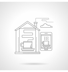 Smart house with coffee detailed line icon vector