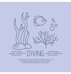 Diving icon with fishs and seaweed vector