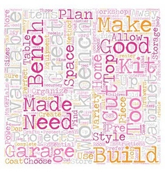 Build your own garage workbench text background vector