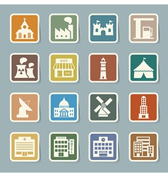Buildings icon set vector