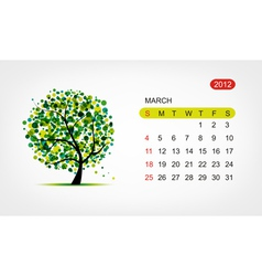 calendar 2012 march Art tree design vector image vector image