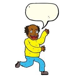 Cartoon evil old man with speech bubble vector