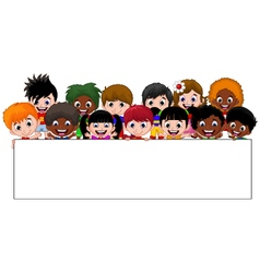 Cartoon kids holding a sign vector image vector image