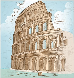 Colosseum color hand draw vector