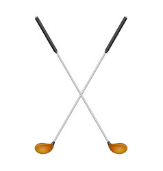crossed golf clubs in retro design vector image vector image