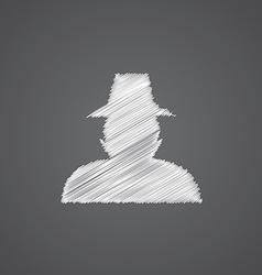 Detective sketch logo doodle icon vector
