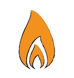 drawing fire flame burning hot design vector image vector image
