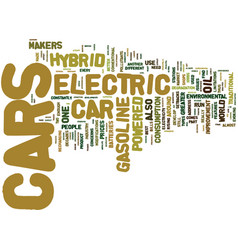 Electric hybrid cars text background word cloud vector