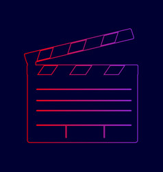 Film clap board cinema sign line icon vector
