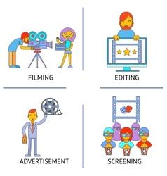 Filming editind advertisemen screening cinema vector image