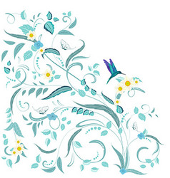 fine nature ornament with flowers and butterflies vector image vector image