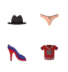 flat clothes set of t-shirt panama heeled shoe vector image