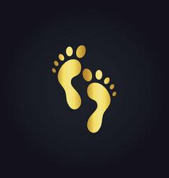 Foot step gold logo vector