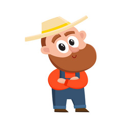 funny farmer gardener character standing with vector image vector image