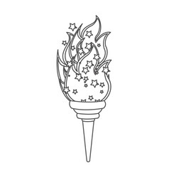 grayscale contour with olympic torch flame vector image