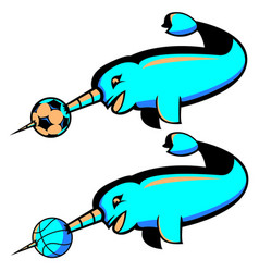 narwhal sports logo vector image