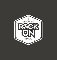 rock on recording studio label badge vector image vector image