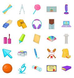 Scholastic icons set cartoon style vector