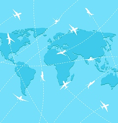 Set planes on map background vector image