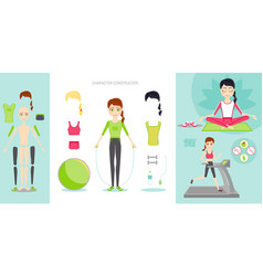 sportswoman character constructor set cartoon vector image