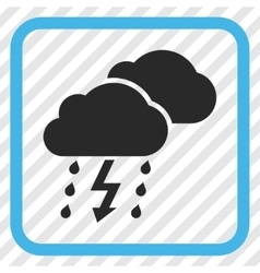 Thunderstorm clouds icon in a frame vector