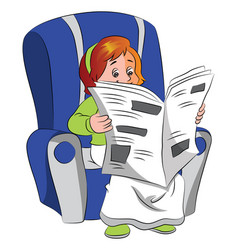 Woman reading newspaper vector