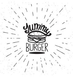 Yummy burger vintage label vector image vector image
